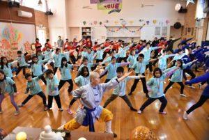 Kung fu training with Shifu